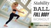 Full Body Stability Ball Workout - 30 Minute Exercise Ball Fitness Training at Home.
