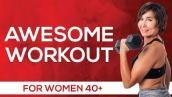 Dumbbell \u0026 Stability Ball Workout for Women Over 40 [NO SQUATS OR LUNGES}